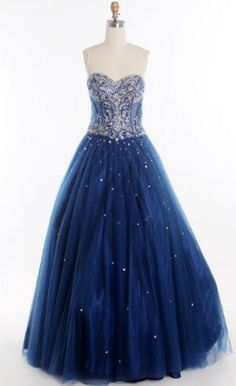 New Dark Blue Prom Dresses Sweetheart Neck See-Through Tulle with Stunning Beading and Crystal Vintage Lace Up Party Gowns