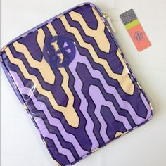Tory Burch Dakar Tablet Sleeve Great Tory Butch piece, signature Dakar purple pattern with coating for easy clean if you spill your Starbucks on it! Zipper closure, no flaws! Tory Burch Accessories Tablet Cases
