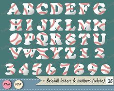 White Baseball letters, clip art, Baseball numbers PNG, Card embellishment, word overlay, Game words, baseball alphabet, Nursery, birthday - pinned by pin4etsy.com