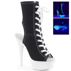 Sneaker Open Toe Boots Heel, 1 Platform Peep Toe, Open Heel Front Lace Up Ankle Boot Featuring Blacklight Reactive Platform Bottom, Outsole & Toplift, Full Inside Zip Closure Stilettos, Stiletto Heels, Open Toe Boots, Lace Up Ankle Boots, Calf Boots, Sneaker Heels, Sneakers, Peep Toes, Glitter Boots