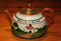Long Park, Torquay, England, Motto Ware Teapot, Widicombe-in-the-Moor,  'Duèe ave a cup of Tay', 9/1