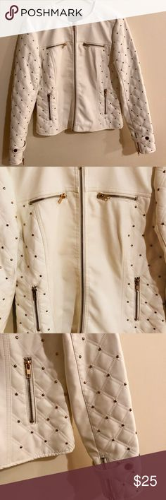 Kate & Mallory White Studded Jacket Nice white faux leather jacket with gold studs and zipper details. Kate & Mallory Jackets & Coats Blazers