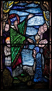 Stained glass window depicting St Patrick preaching to his disciples including Benignus as a young boy by Harry Clarke . Michael's Church, Ballinasloe, County Galway, Ireland. Source - Andreas F. Borchert via Wikimedia. Harry Clarke, Glass Wall Art, Stained Glass Art, Stained Glass Windows, Saint Patrick, Michael Church, St Michael, L'art Du Vitrail, Wine Bottle Wall
