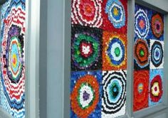 Recycled plastic bottlecap art