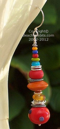 Limited Edition Artist Earrings RAINBOW STACK 3 by BeachsideBits, $37.50