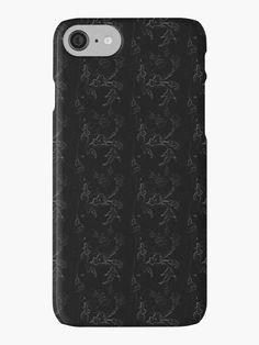 Royal Black Floral Texture iPhone Case