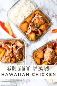 Easy to Meal Prep Sheet Pan Hawaiian Chicken | Meal Plan Addict. Say Aloha to your new favorite meal prep lunch – Sheet Pan Hawaiian Chicken is here to wake up your boring lunch routine. Find more Sheet Pan Recipes at www.mealplanaddict.com #mealplanaddict #sheetpan #aloha Lunch Meal Prep, Meal Prep Bowls, Easy Meal Prep, Healthy Meal Prep, Healthy Lunches, Healthy Eats, Healthy Foods, Lunch Recipes, Dinner Recipes
