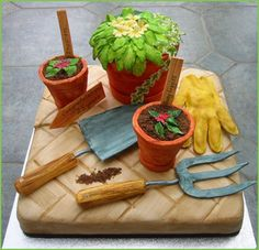 Gardening cake - For all your cake decorating supplies, please visit craftcompany. co uk Cupcakes, Cupcake Cakes, Mini Cakes, Crazy Cakes, Fancy Cakes, Unique Cakes, Creative Cakes, Beautiful Cakes, Amazing Cakes