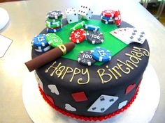 Wicked Chocolate cake covered in black fondant icing, decorated with green fondant hexagon, fondant poker chips, fondant playing cards, fond. Casino Theme Parties, Casino Party, Casino Night, Fondant Icing, Fondant Cakes, Poker Cake, Boys With Tattoos, Black Fondant, Cakes For Men