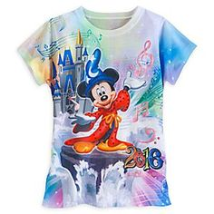 Sorcerer Mickey Mouse and Friends Sublimated Tee for Girls - Walt Disney World 2016 | Disney Store Sorcerer Mickey Mouse brings the magic of Walt Disney World 2016 to this adorable sublimated tee. Featuring the Disney Princesses dancing with their Prince at back, this colorful tee is fairytale fashion come true.