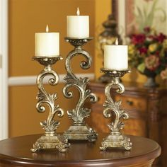 LAMPS PLUS Silverado Finish Ornate Scrolled Candle Holders