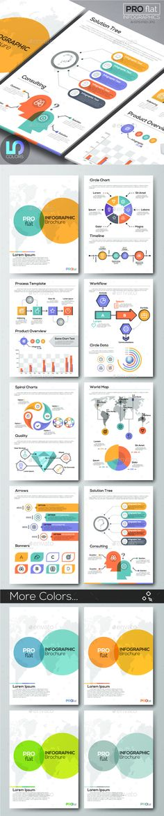 Pro Flat Infographic Brochure. Set 9 (5 Colors) — Photoshop PSD #infograph #illustration • Download ➝ https://graphicriver.net/item/pro-flat-infographic-brochure-set-9-5-colors/19556120?ref=pxcr