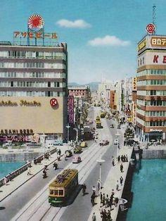 昭和スポット巡り on twitter / 昭和30年代 博多 那珂川と西大橋