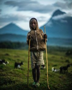 Sheepherder with Mount Mikeno. North Kivu, Democratic Republic of the Congo Photo by @michaelchristopherbrown