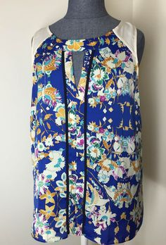 collective concepts lydia floral print key-hole blouse