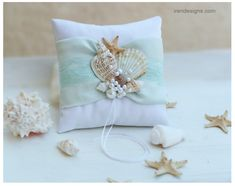 Beach Ring Bearer Pillow. Ring Pillow. Aqua Color by IrenDesigns