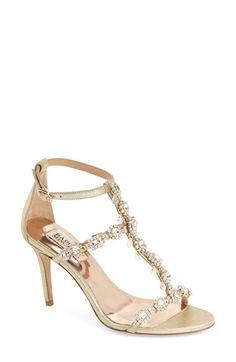 Badgley Mischka 'Cascade' Crystal Embellished T-Strap Sandal (Women) available at #Nordstrom