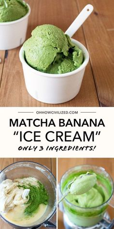 Matcha Green Tea and Banana pair well together in this recipe. With just 3 ingredients you can enjoy your very own Matcha Banana Ice Cream - perfect for the up and coming hot days! Click to learn the recipe. Matcha Ice Cream, Green Tea Ice Cream, Banana Nice Cream, Matcha Green Tea, Banana Ice Cream Healthy, Banana Tea, Green Teas, Healthy Sweets, Healthy Snacks