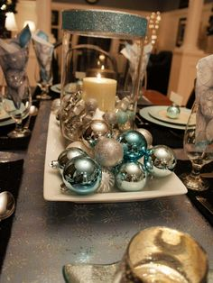 Silver and Teal Holiday Table from HGTV on Facebook