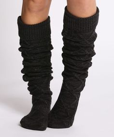 Loving this CoziBear Boutique Black & Charcoal Marled Cable-Knit Over-the-Knee Socks on #zulily! #zulilyfinds