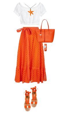 Summer Orange by terry-tlc on Polyvore featuring Tory Burch, Salvatore Ferragamo, Tod's, Baume & Mercier, Summer, fashionset and polyvoreeditorial