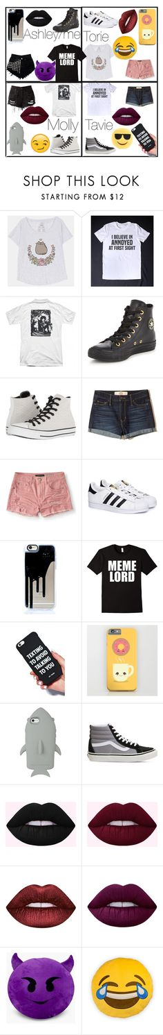 """Squad in T-shirts"" by metal-ashes ❤ liked on Polyvore featuring Pusheen, Converse, Hollister Co., Aéropostale, adidas, STELLA McCARTNEY, Vans, Lime Crime and Throwboy"