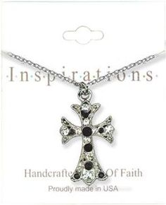 Jet Cross With Crystals Necklace