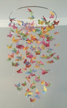 Color Splash monarch butterfly chandelier mobile, butterfly mobile, baby mobile, photo prop, nursery mobile - Fluttering brightly colored butterfly on a 14 hooping to add splashes of color to your nursery. Butterfly Mobile, Butterfly Crafts, Monarch Butterfly, Butterfly Wind Chime, Diy And Crafts, Crafts For Kids, Arts And Crafts, Paper Crafts, Paper Butterflies