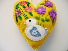 Yellow Felt Heart Ornament with Bird and by heartfeltwhimsy, $25.00