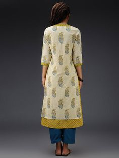 Cream-Yellow Printed  Kurta with Jacket  Set of 2