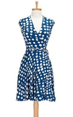 Blue with White Dots, Cap Sleeve Wrap Dress from jemapparel.com - $50. This would be super cute with a mustard cardigan & red flats.