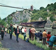 SS Great Britain Coming Home Under Suspension Bridge 1970 Bristol England, England Uk, City Of Bristol, Bristol Uk, Abandoned Ships, Abandoned Places, Avon, Bristol Fashion, Isambard Kingdom Brunel