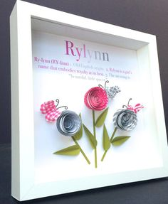 Personalized Name and Meaning Paper Origami Shadowbox Frame with Roses & Butterflies Custom Newborn Baby Shower Girl Gift by paintandpapercraft on Etsy