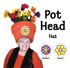 Halloween Costume Hats for Women - Unique Garden Pot Head Hat Floral Sticker Combo (Made in USA) Halloween Costume Hats, Homemade Halloween Costumes, Costume Ideas, 90s Costume, Zombie Costumes, Halloween Makeup, Crazy Hat Day, Crazy Hats, Funny Costumes