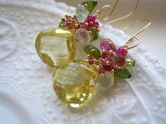 Cuarzo limón, piedra preciosa Multi pendiente-Garden Party pendientes