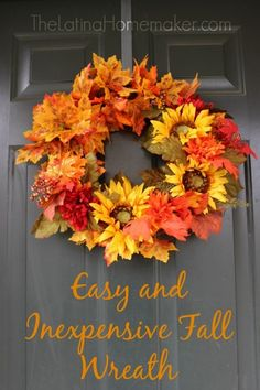 A bright, fun fall DIY wreath for your front door.