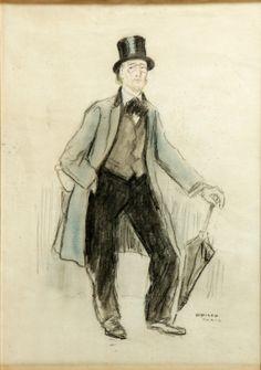 """35006421. OPISSO I SALA, Ricardo (Tarragona, 1880 – Barcelona, 1966). """"Retrato de Erik Satie"""", París. Carboncillo y pastel sobre papel. Firmado y localizado en el ángulo inferior derecho. Medidas: 50 x 46 cm; 67 x 54 cm (marco)."""
