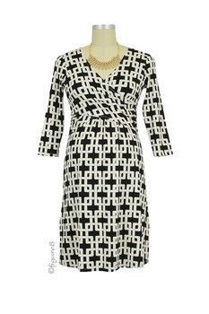 d1fd0f1110 Briana Maternity   Nursing Dress (Black   White Chain Link)