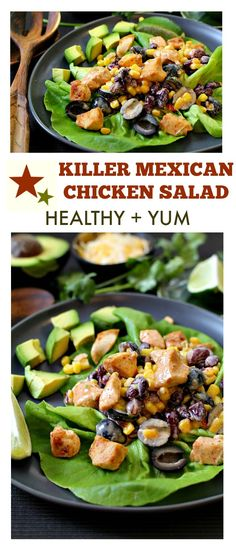 Mexican Chicken Salad that features a sweet spicy dressing & a great line-up of ingredients that will have everyone asking for seconds. Mexican Chicken Salads, Mexican Salad Recipes, Avocado Recipes, Corn Recipes, Turkey Recipes, Healthy Soup, Healthy Snacks, Healthy Eating, Healthy Chicken