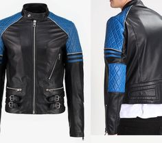 fe7e2e432df Arrow Men Black And Blue Leather jacket – 324234 – Arrow Shopping