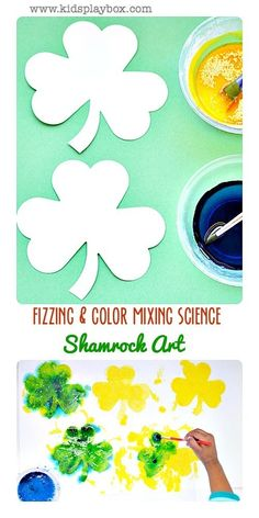 Fizzing Science and Color Mixing science are explored while creating gorgeous shamrock art for St.Patrick's Day. Kids will enjoy making fizzing shamrocks.