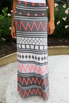 Gray and Neon Pink Chevron Maxi Skirt – Saved by the Dress