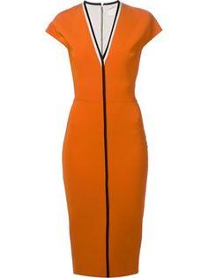Victoria Beckham Contrast Trim V-neck Dress - Mcmarket Monaco - Farfetch.com