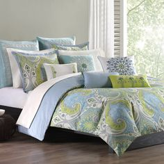 The Sardinia Collection offers bright, bold colors in an over-scaled paisley print motif. This duvet cover and corresponding shams bring in bright shades of blue and greens to create this unique design on a soft, 100% cotton fabrication. The reverse offers a mini-diamond print that perfectly compliments the boldness of the face of the duvet. For a clean look, the duvet cover features a tackless finish without any stitching to distract from the beauty of this duvet.     A duvet cover is a…