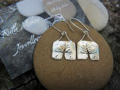 Sterling silver Hedgerow Tree earrings by Ruth Makes Jewellery