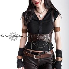 eab8b16ac8f Steampunk Harness BROWN Faux Leather Underbust Bodice with Silver Gears