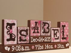 Personalized Baby Name Wood Blocks Decor with by TimelessNotion