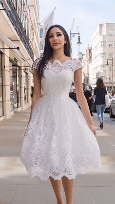 vintage white lace tea length prom party dresses, simple a line homcoming dress for junior , semi formal dress A-Line Scalloped-Edge Tea-Length White Homecoming Prom Dress with Appliques Lace Wedding Dress With Sleeves, Wedding Dresses Plus Size, Lace Dress, White Dress, White Lace, Lace Bodice, Lace Homecoming Dresses, Mermaid Prom Dresses, Prom Party Dresses