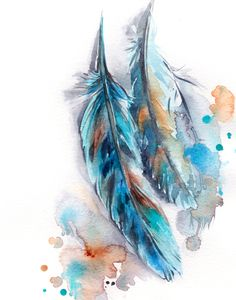 Feathers Fine Art Print Turquoise Feathers watercolor print loose style feathers painting art two feathers wall art print - Feathers Fine Art Print Turquoise Feathers watercolor painting art feathers modern wall art print - Feather Drawing, Feather Wall Art, Watercolor Feather, Feather Painting, Watercolor Print, Watercolor Paintings, Painting Art, Tribal Feather, Small Paintings