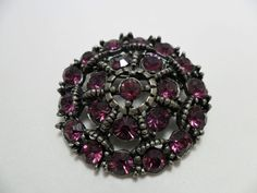 Vintage Brooch / Pin Purple GLASS Faceted by KathiJanes on Etsy, $11.95